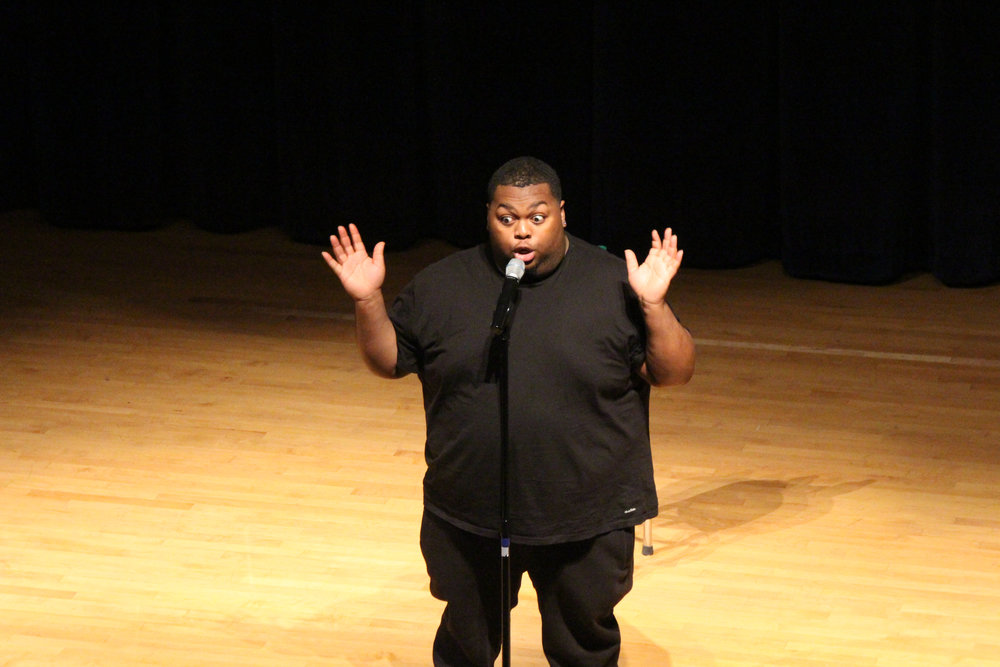 Leonard Ouzts entertained UConn students at the Student Union Theater on Wednesday during a SUBOG hosted comedy show. Throughout his performance he called out many audience members to ask them questions and playfully make fun of their answers. (Ryan Murace/The Daily Campus)