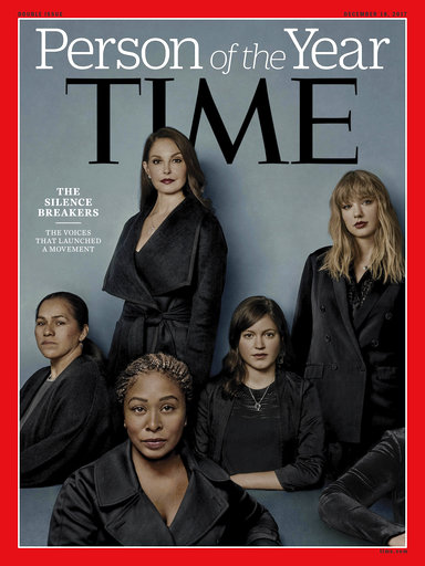 "This image provided by Time magazine, shows the cover of the magazine's Person of the Year edition as ""The Silence Breakers,"" those who have shared their stories about sexual assault and harassment. (Time Magazine via AP)"