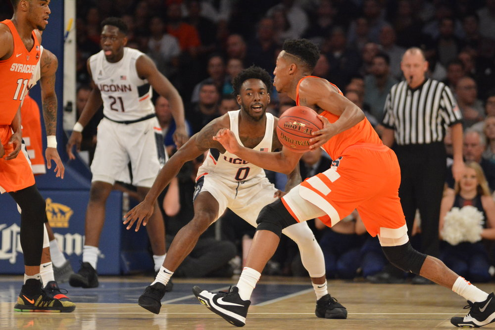 Antoine Anderson defends the perimeter against Syracuse at Madison Square Garden. (Olivia Stenger/The Daily Campus)