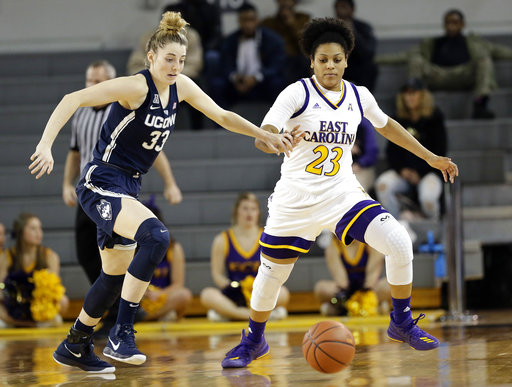 Connecticut's Katie Lou Samuelson (33) and East Carolina's Dominique Claytor (23) chase the ball during the second half of an NCAA college basketball game in Greenville, N.C., Wednesday, Jan. 3, 2018. Connecticut won 96-35. (AP Photo/Gerry Broome)