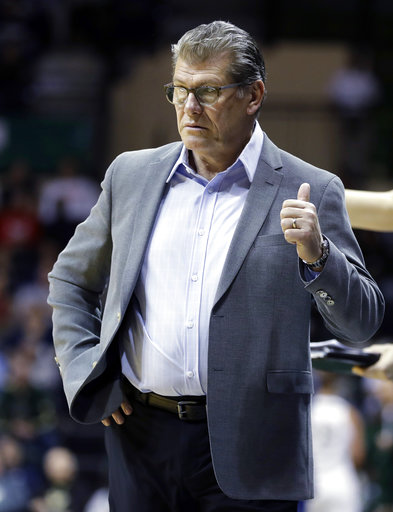 Connecticut coach Geno Auriemma gestures during the fourth quarter of the team's NCAA college basketball game against South Florida on Saturday, Jan. 6, 2018, in Tampa, Fla.UConn won 100-49. (AP Photo/Chris O'Meara)