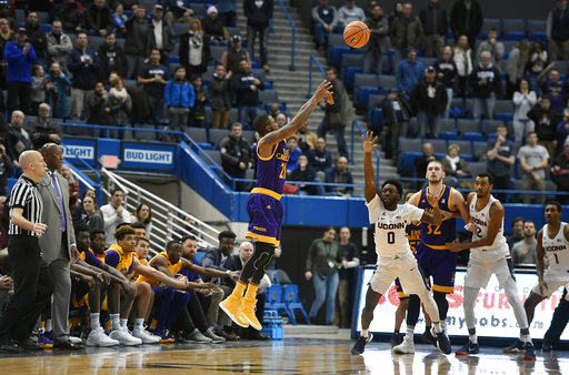 East Carolina's B.J. Tyson misses a 3-point basket to tie the score in the final seconds of UConn's 70-65 victory over the Pirates on Saturday, Jan. 6, 2018 at the XL Center in Hartford. (Jessica Hill/AP)
