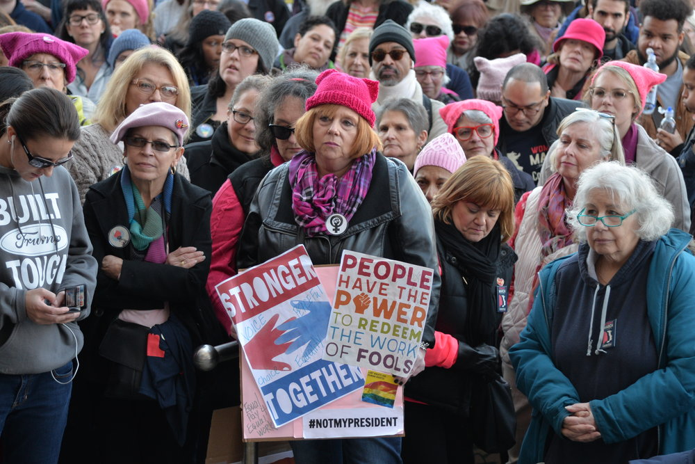 This year's marches mark the one year anniversary of President Trump's inauguration and come in the wake of the nationwide reckoning of sexual harassment and assault known as the Me Too movement. (Amar Batra/The Daily Campus)