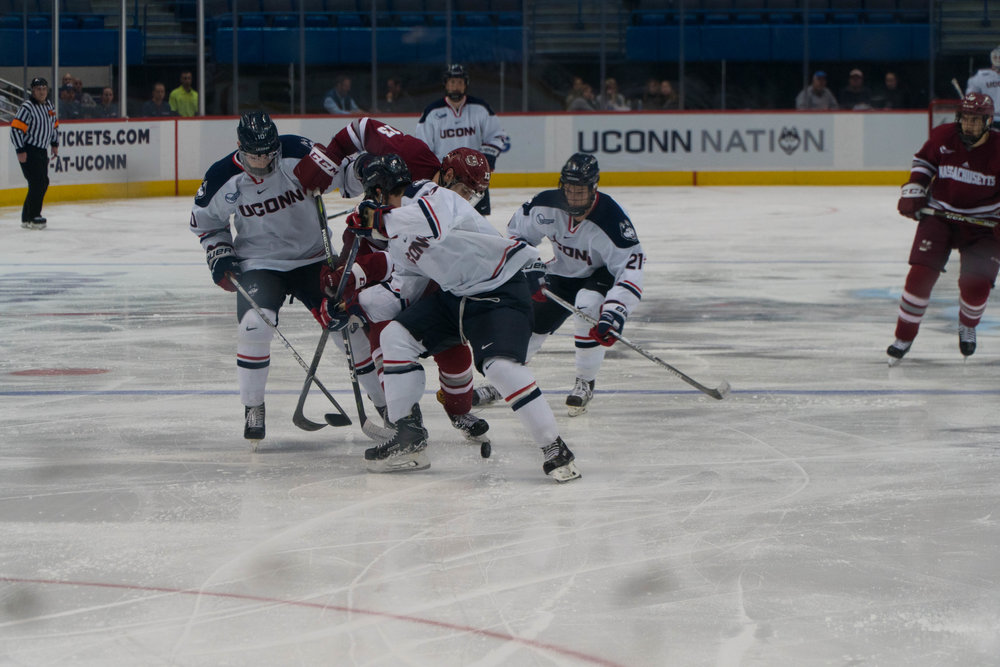 UConn Huskies blow out UMass Minutemen 8-2, a score unseen since 2013. They look to score more in the next home game against Colgate on Friday, December 8. (Eric Wang/The Daily Campus)