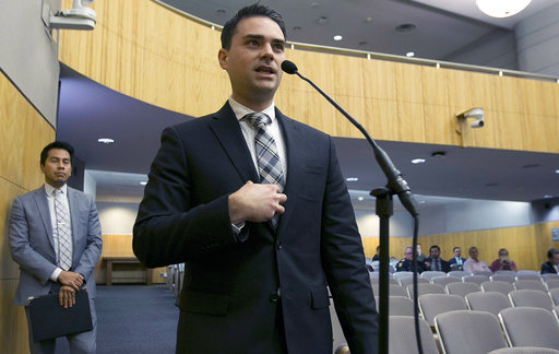 FILE - In this Oct. 3, 2017 photo, conservative writer Ben Shapiro speaks during the first of several legislative hearings planned to discuss balancing free speech and public safety in Sacramento, Calif. A University of Connecticut Republican student group has invited Shapiro to speak on Jan. 24, 2018, on campus in Storrs, Conn. (AP Photo/Rich Pedroncelli, File)