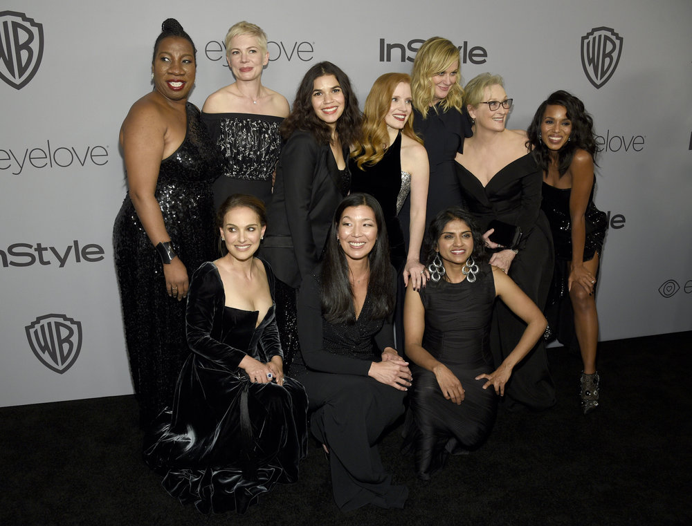 Tarana Burke, top row from left, Michelle Williams, America Ferrera, Jessica Chastain, Amy Poehler, Meryl Streep, Kerry Washington, and bottom row from left, Natalie Portman, Ai-jen Poo, and Saru Jayaraman arrive at the InStyle and Warner Bros. Golden Globes afterparty at the Beverly Hilton Hotel on Sunday, Jan. 7, 2018, in Beverly Hills, Calif. (Photo by Chris Pizzello/Invision/AP)