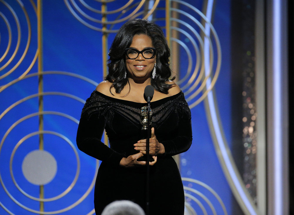 Oprah Winfrey accepting the Cecil B. DeMille Award at the 75th Annual Golden Globe Awards in Beverly Hills, Calif., on Sunday, Jan. 7, 2018. (Paul Drinkwater/NBC via AP)