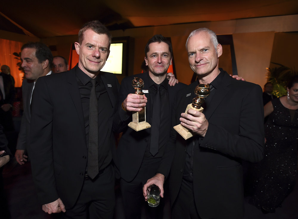 From left, Graham Broadbent, Peter Czernin, and Martin McDonagh attend FOX 2018 Golden Globes After Party at The Beverly Hilton on Sunday, Jan. 7, 2018, in Beverly Hills, Calif. (Photo by Jordan Strauss/Invision for January Images/AP Images)