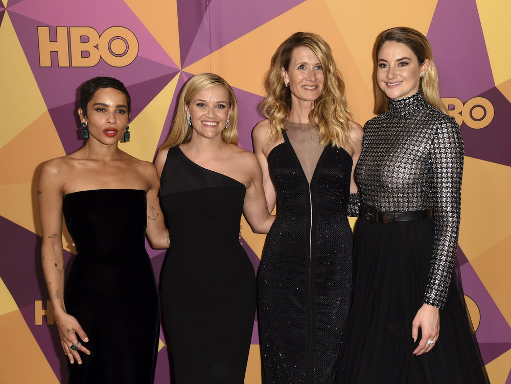 Zoe Kravitz, from left, Reese Witherspoon, Laura Dern, and Shailene Woodley arrive at the HBO Golden Globes afterparty at the Beverly Hilton Hotel on Sunday, Jan. 7, 2018, in Beverly Hills, Calif. (Photo by Richard Shotwell/Invision/AP)