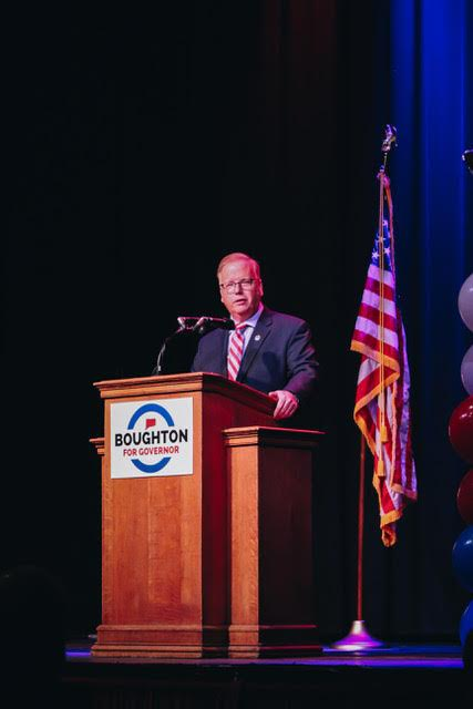 Danbury Mayor Mark Boughton appearing at a campaign rally earlier in the week. (Courtesy of Boughton 2018)