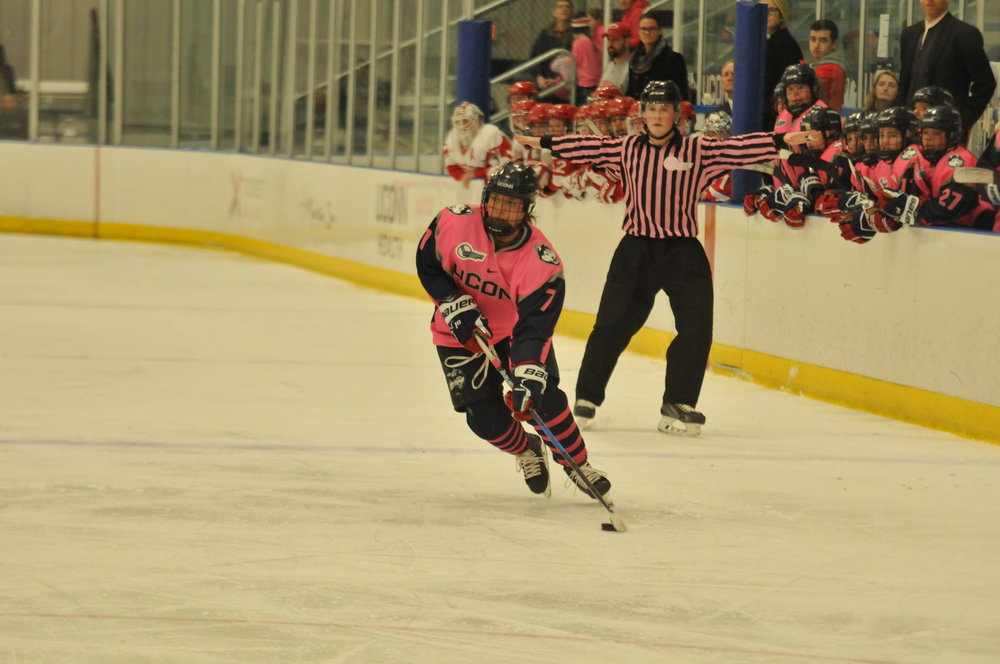 UConn's Women's hockey team faced off against Boston College in Freitas Ice Forum on Sunday Jan 21. After raising over $6,000 for UConn Health for Breast Cancer Awareness, the Huskies and the Terriers played through overtime, leading to a 2-2 tie