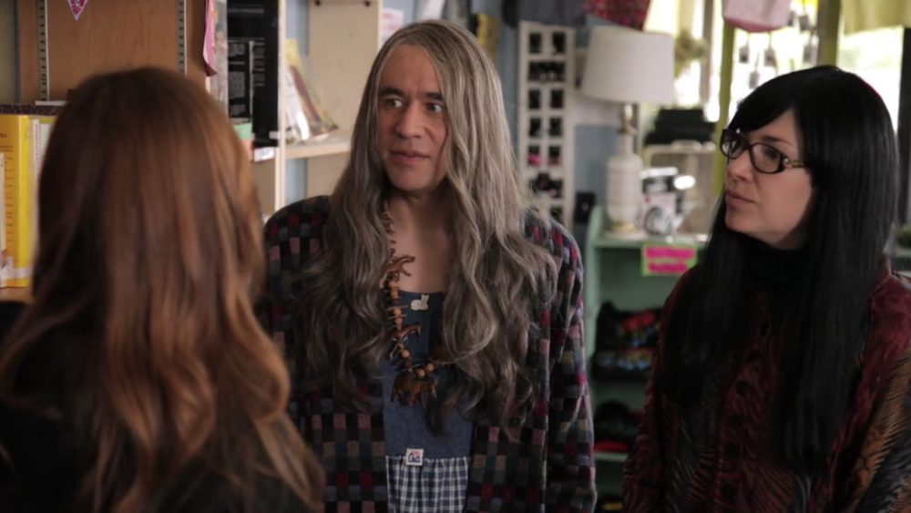 Fred Armisen (left) and Carrie Brownstein (right) in Portlandia's feminist bookstore skit. (screenshot/Netflix)