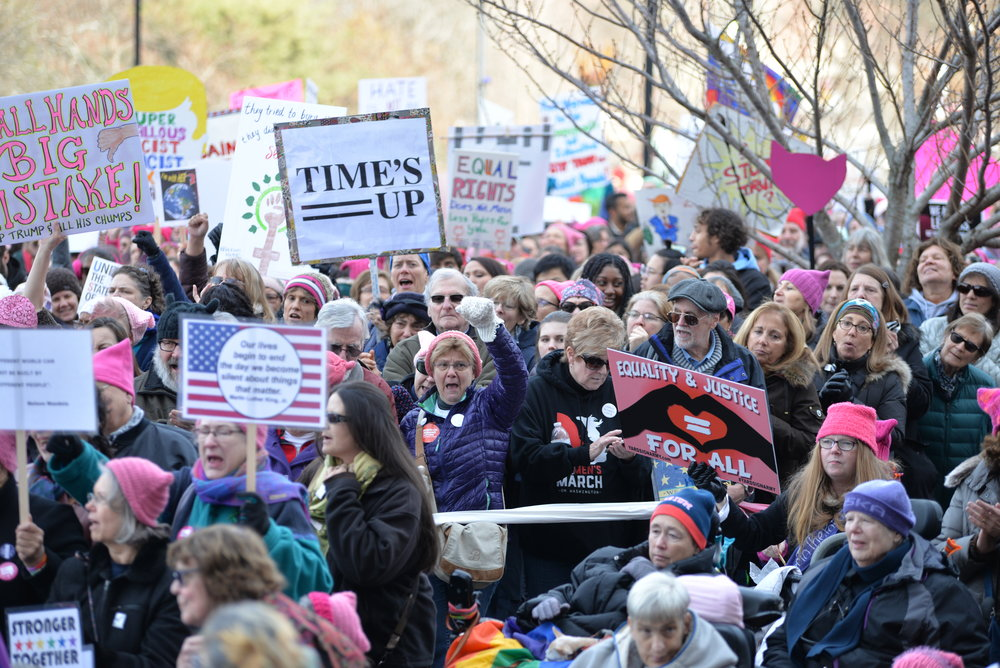 Thousands of women march on the state capitol on Saturday, Jan. 20, 2017 in support of women's rights, LGBTQ rights, African American and Hispanic rights, and equality for all peoples.