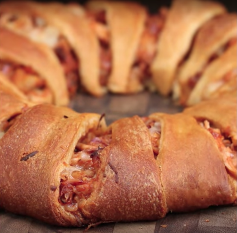 This week on Melissa's Menu is the BBQ Chicken Ring, a perfect and unique dish for your Super Bowl party. (Screenshot courtesy of  BuzzFeed Tasty YouTube )