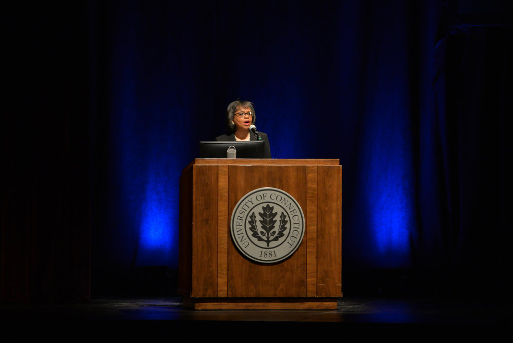 Brandeis Professor and Civil Rights activist Anita Hill speaks in Jorgensen for the Dr. Martin Luther King, Jr. Living Legacy Convocation in remembrance of King's mission for equality on Thursday afternoon. Hill primarily focused on the harassment faced by women and specifically women of color in the work place. (Amar Batra/The Daily Campus)