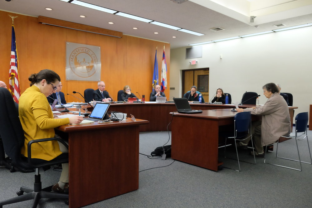 The Mansfield Town Council convenes for a meeting on Monday, Jan 22. The council discusses numerous issues, such as secret meetings, wages, and other issues. (Jon Sammis/The Daily Campus)