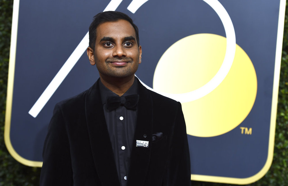 FILE - In this Jan. 7, 2018, file photo, Aziz Ansari arrives at the 75th annual Golden Globe Awards at the Beverly Hilton Hotel in Beverly Hills, Calif. (Photo by Jordan Strauss/Invision/AP, File)