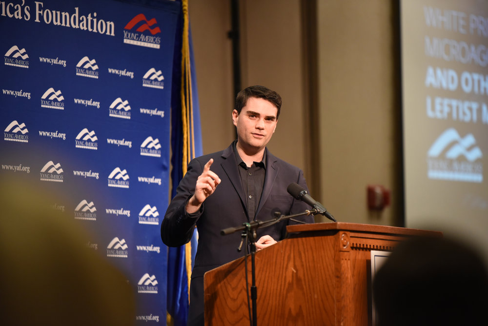 Ben Shapiro speaks on Wednesday night in Rome Ballroom. He made a speak and allowed a Q&A after his speech. (Charlotte Lao/The Daily Campus)