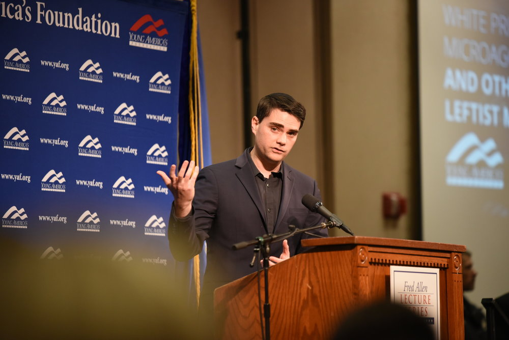 Ben Shapiro speaks on Wednesday night in Rome Ballroom. He made a speak and allowed a Q&A after his speech (Charlotte Lao/The Daily Campus).