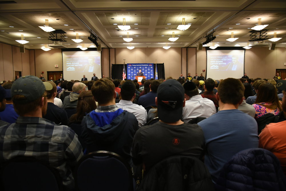 """Ben Shapiro's speech, titled """"Say No to Campus Thuggery,"""" was a popular draw at UConn last week (Charlotte Lao/The Daily Campus)"""