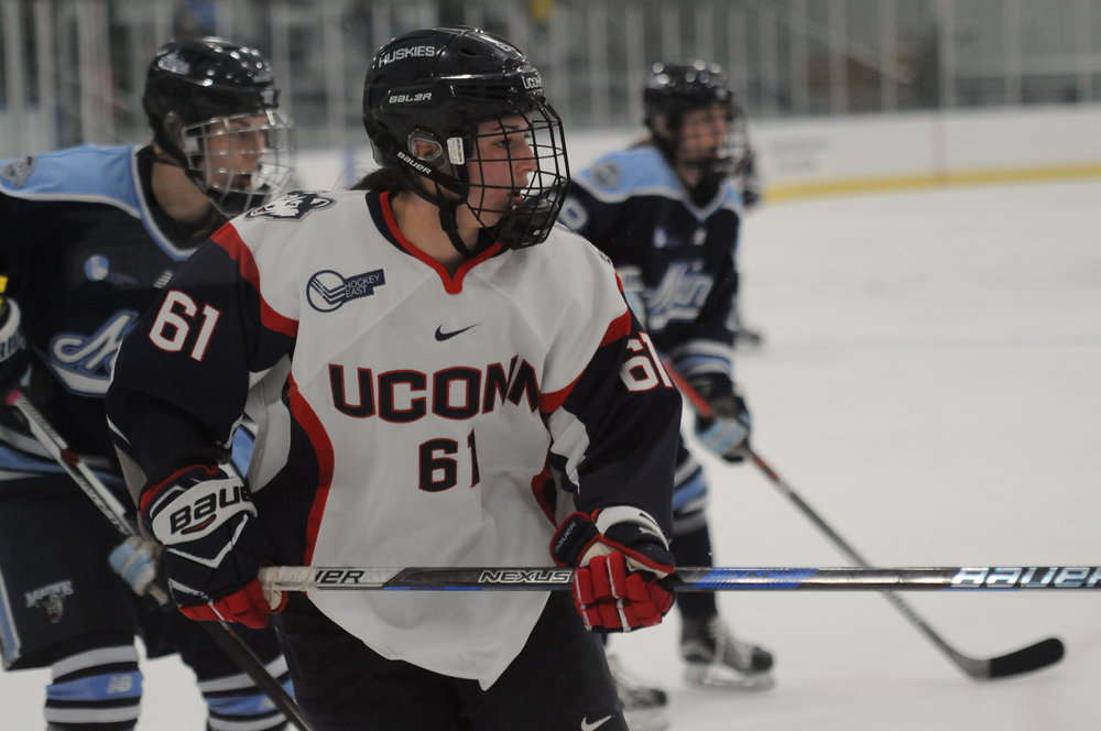 The Women's Hockey Team faces off against Maine on a double header in Freitas Ice Forum.  The Huskies came out on top in a tight game on Friday, Jan. 26, with a 2-1 win, and dominated on Saturday, Jan. 27, with a 4-0 shutout (Jon Sammis/The Daily Campus).