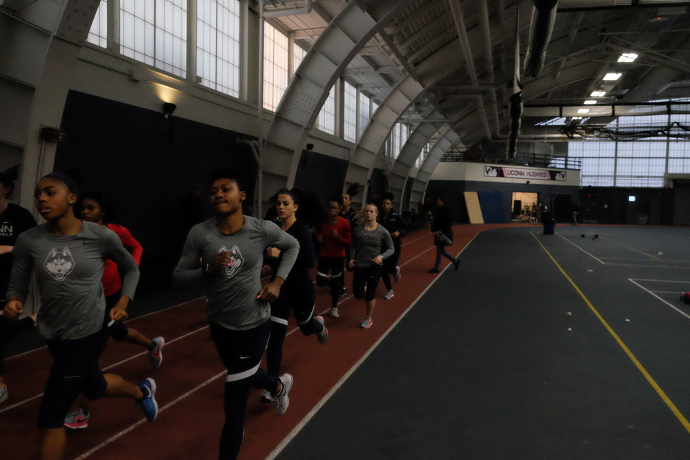 Track practice underway in Greer Fieldhouse (Jon Sammis/The Daily Campus)