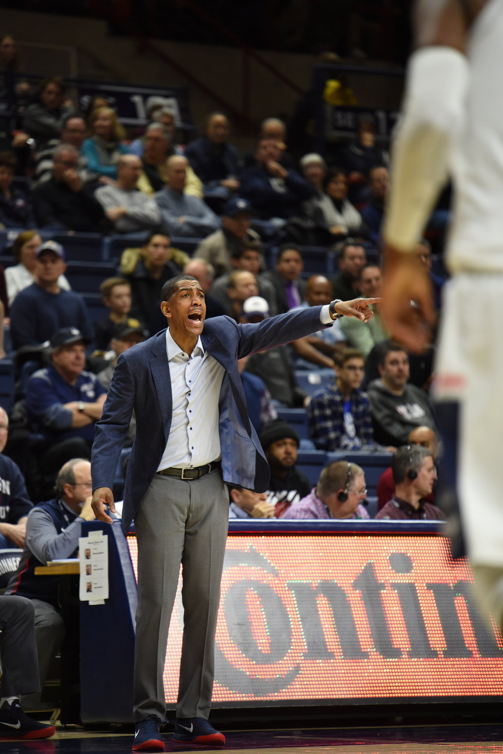Kevin Ollie and Co. struggled mightily in a embarassing loss at Temple Sunday night. (Charlotte Lao/The Daily Campus)