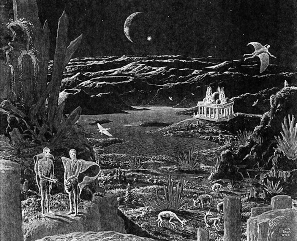 "A picture of the moon hoax scene, featuring some of the animals and creatures that ""roam"" the moon. (Artist Don Davis, 1981)"