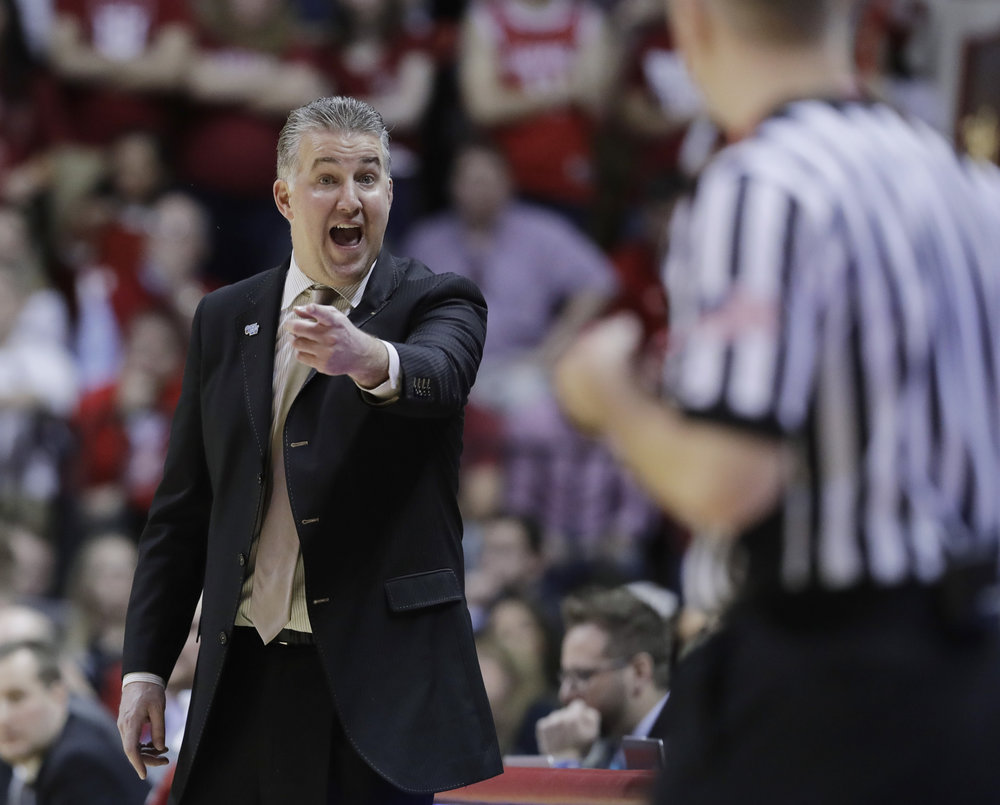 Purdue head coach Matt Painter argues a call during the second half of an NCAA college basketball game against Indiana, Sunday, Jan. 28, 2018, in Bloomington, Ind. Purdue won 74-67. (Darron Cummings/AP)