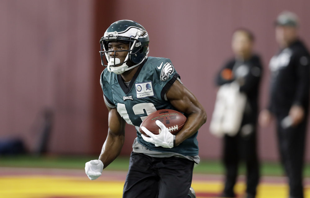 Philadelphia Eagles wide receiver Nelson Agholor (13) during a practice for the NFL Super Bowl 52 football game Wednesday, Jan. 31, 2018, in Minneapolis. Philadelphia is scheduled to face the New England Patriots Sunday. (AP Photo/Eric Gay)