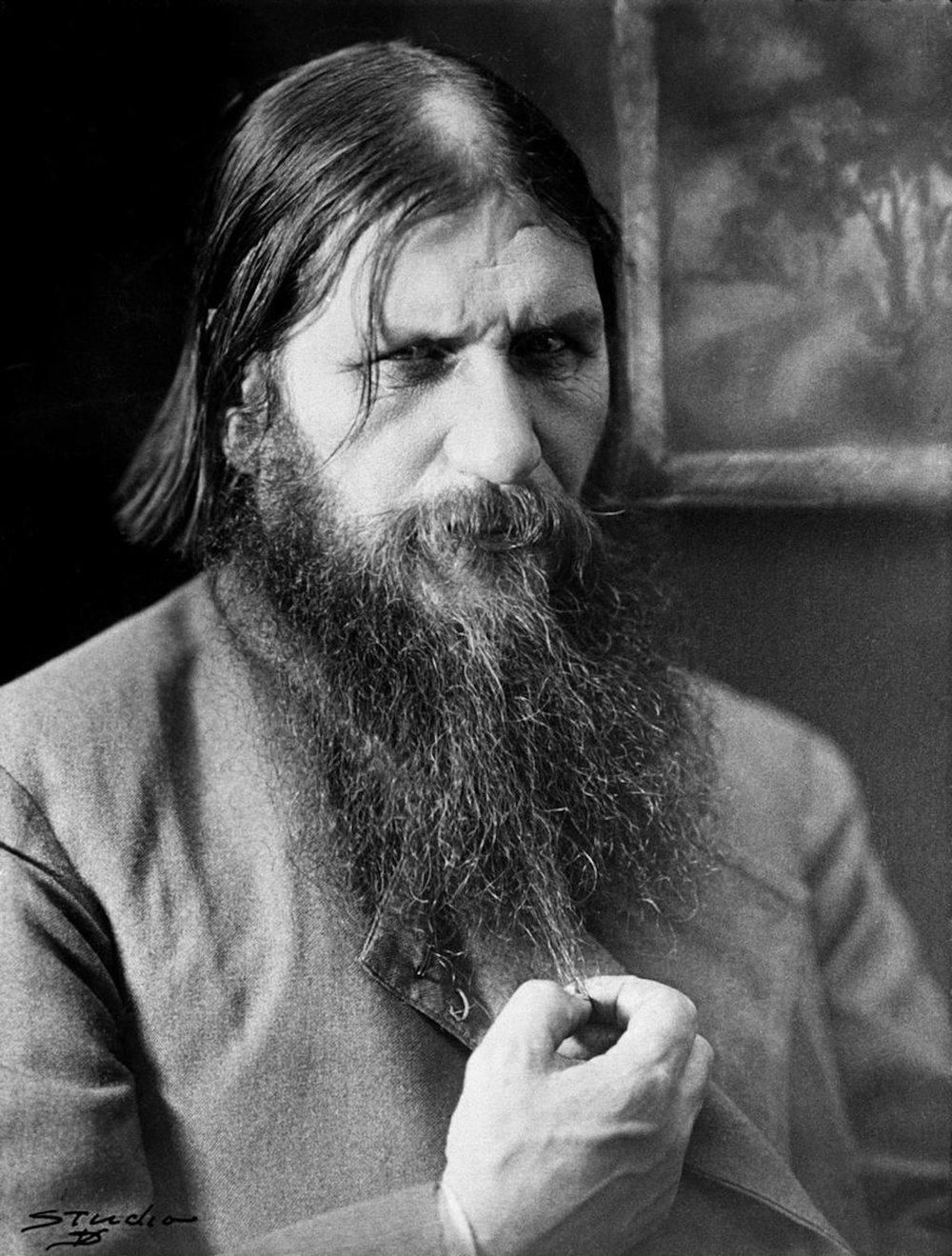 Rasputin was born in a small Siberian river village and worked his way into the Romanov's hearts. He earned a place of honor in court, advising the royal family. (Unknown)