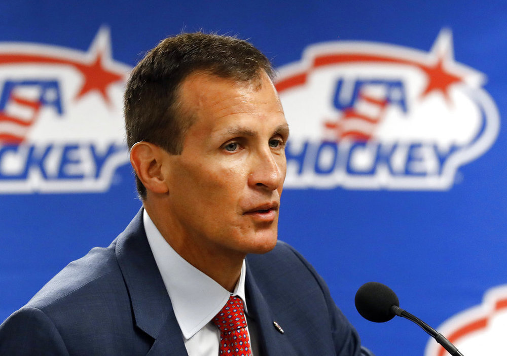 Tony Granato, United States olympic men's hockey coach, speaks during a news conference in Plymouth, Mich. (AP Photo/Paul Sancya, File)