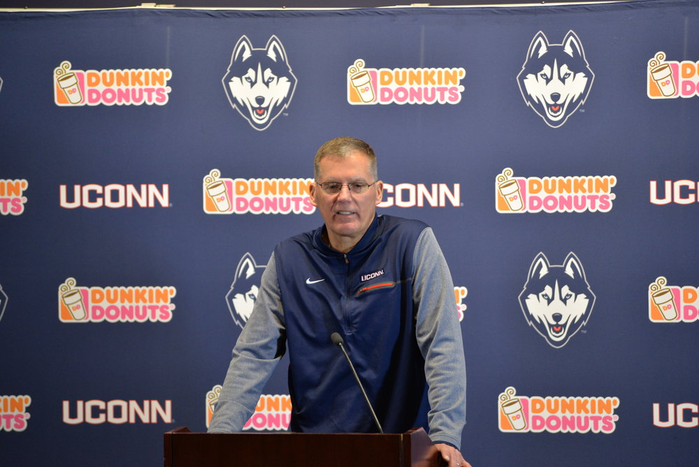 Randy Edsall addressed the media on National Signing Day. (Amar Batra/The Daily Campus)