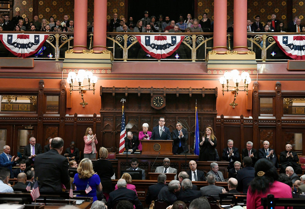 Connecticut Gov. Dannel P. Malloy delivers his State of the State speech during opening session at the state Capitol, Wednesday, Feb. 7, 2018, in Hartford, Conn. (AP Photo/Jessica Hill)