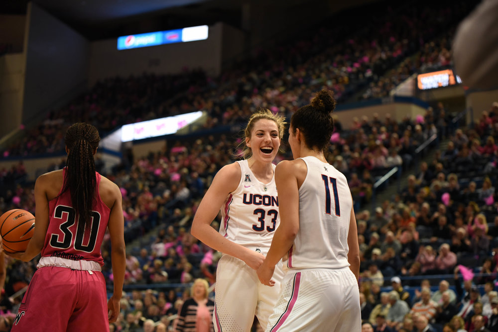 UConn's Katie Lou Samuelson (33) and Kia Nurse (11) celebrated a made basket in the Huskies' 124-43 win over the Wichita State Shockers on Saturday, Feb. 10, 2018 at the XL Center in Hartford, Connecticut. (Photo by Charlotte Lao, Associate Photo Editor/The Daily Campus)