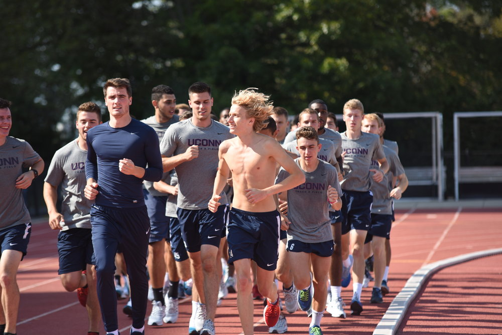 The Track team practices outdoors in a different season (Charlotte Lao/The Daily Campus)