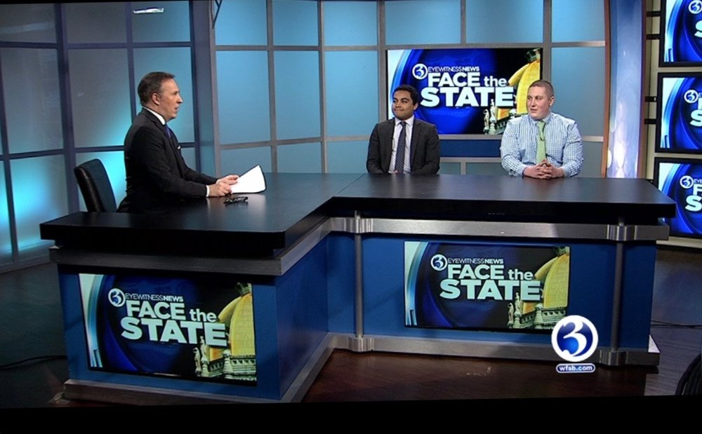 "Stephen Della-Giustina appeared on CBS affiliate WFSB's ""Face the State,"" to discuss millennials' hopes for the upcoming election cycle and said that there is a lack of strong leadership both on the state and federal level along with an imminent need for Connecticut to retain millennial talent in order to grow. (photo courtesy of Stephen Della-Giustina"