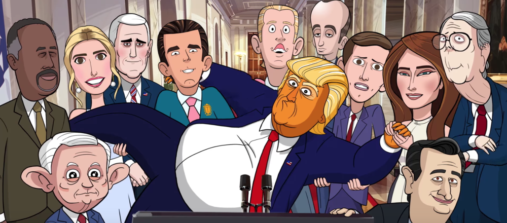 My Cartoon President is one of the latest spoofs of the Oval Office, led by the efforts of longtime Comedy Central turned CBS star Stephen Colbert.(screenshot/Showtime)