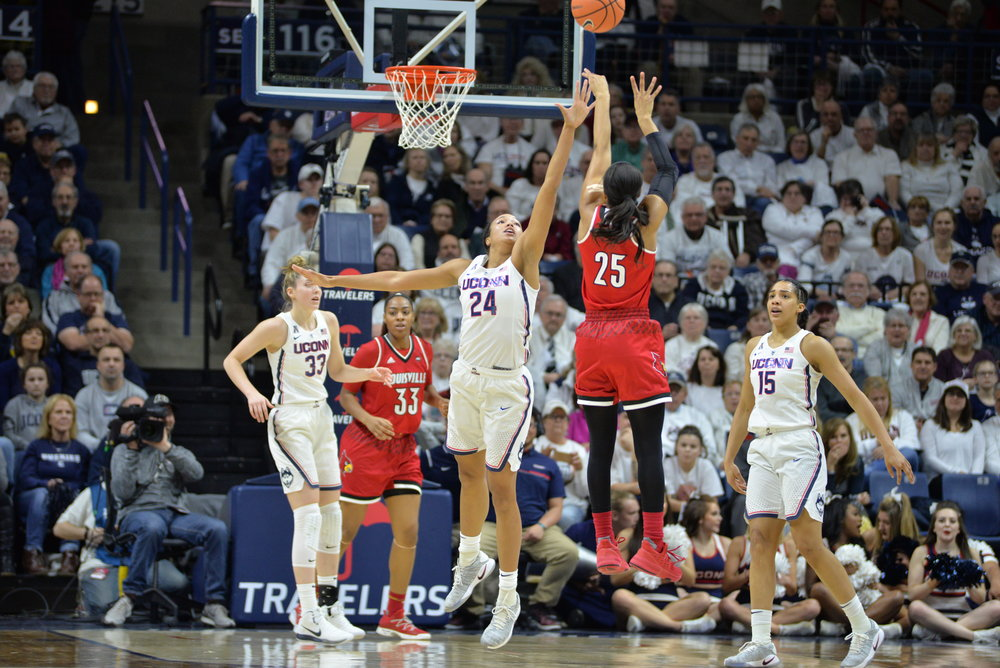UConn defeats number four ranked Louisville 69-58 on February 12 in Gampel Pavilion. Katie Lou Samuelson led the team with 26 points. (Amar Batra/The Daily Campus)