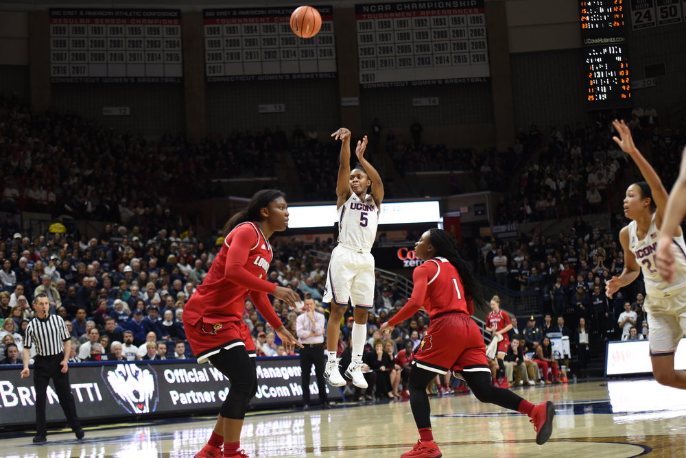 The Huskies put the finishing touch on a brutal nonconference slate, remaining undefeated as they head into the regular season's final four games. UConn will have the rest of the week off before hosting Temple Sunday afternoon at the XL Center. (Amar Batra/The Daily Campus)