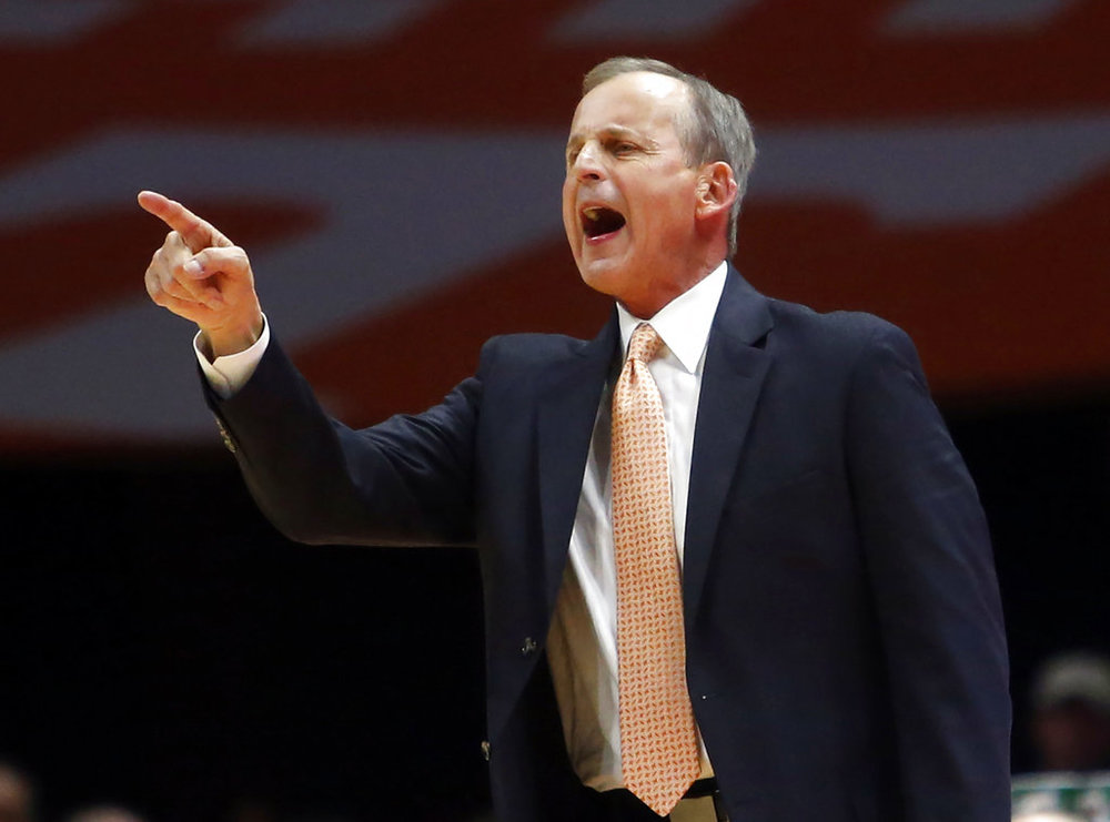 FILE - In this Jan. 13, 2018, file photo, Tennessee head coach Rick Barnes yells to his player in the first half of an NCAA college basketball game against Texas A&M in Knoxville, Tenn. (AP Photo/Crystal LoGiudice, File)