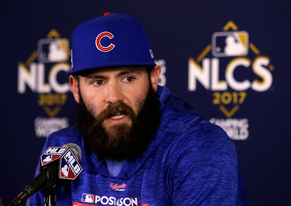 In this Oct. 17, 2017, file photo, Chicago Cubs' Jake Arrieta talks during a news conference before Game 3 of baseball's National League Championship Series against the Los Angeles Dodgers, in Chicago. (AP Photo/Charles Rex Arbogast, File)