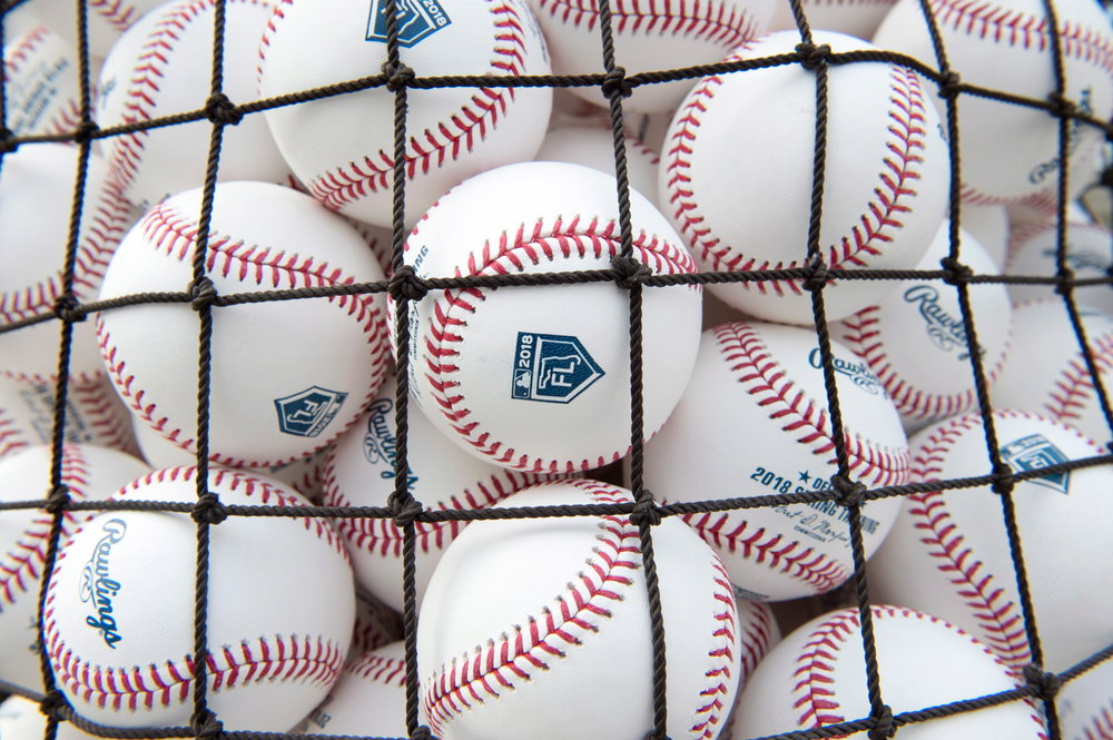 Baseballs sit ready for use at Toronto Blue Jays baseball spring training in Dunedin, Fla., on Wednesday Feb. 14, 2018. (Frank Gunn/The Canadian Press via AP)