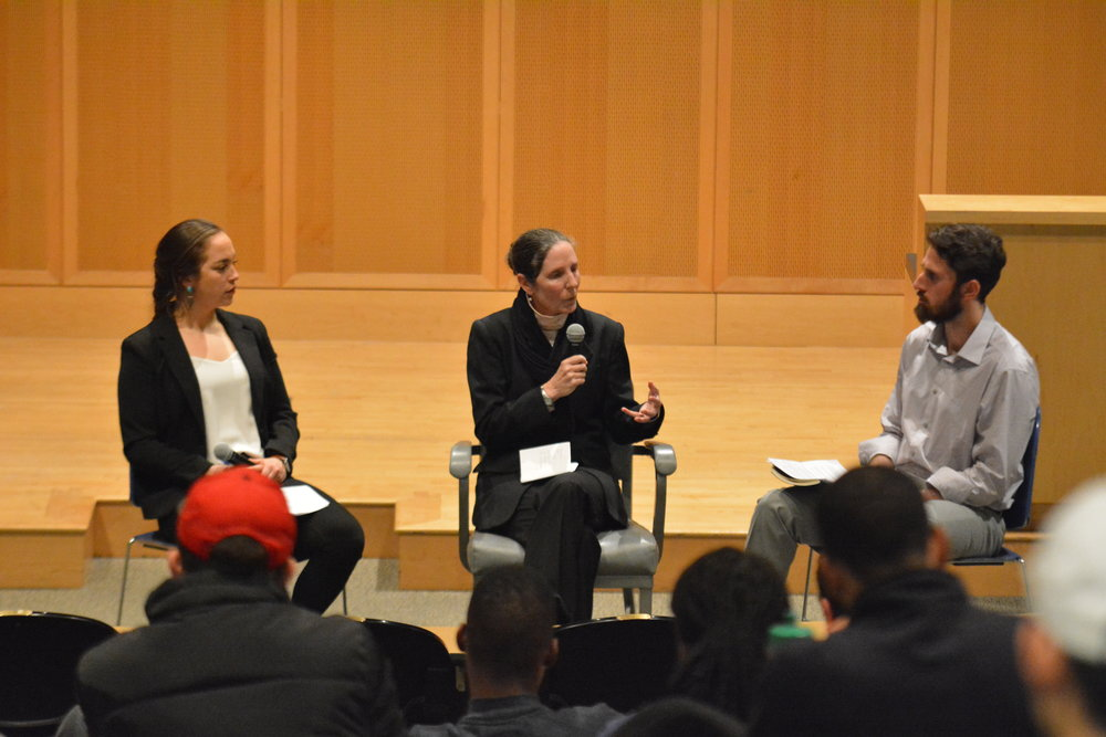The very first thing that Dr. Ellen Staurowsky did upon entering the lecture hall in ITE for her discussion on equity in sports this Valentine's Day evening was to get to know everyone. (Jon Sammis/The Daily Campus)