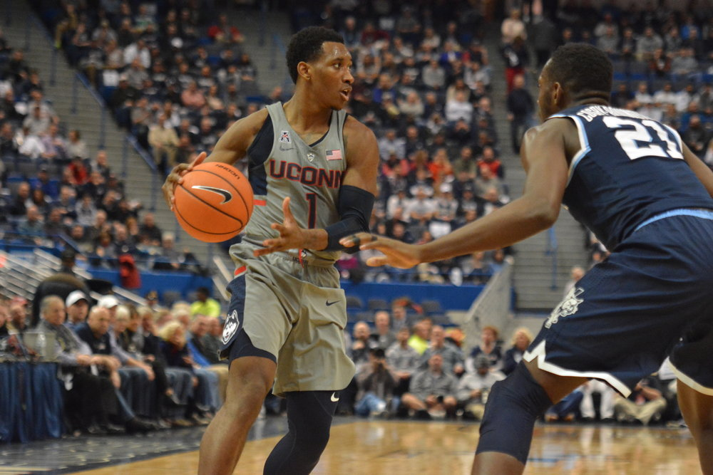 UConn takes on Villanova, the #1 team in the Big East, at the XL Center on January 20. The Huskies fell to the Wildcats with a final score of 81-61. (Olivia Stenger/The Daily Campus)