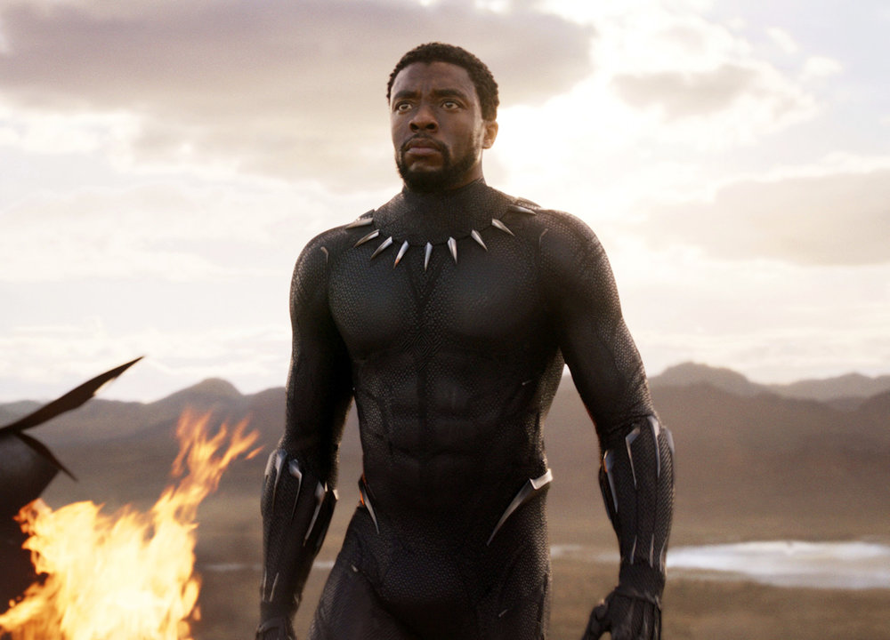 """This image released by Disney and Marvel Studios' shows Chadwick Boseman in a scene from """"Black Panther."""" (Marvel Studios/Disney via AP)"""