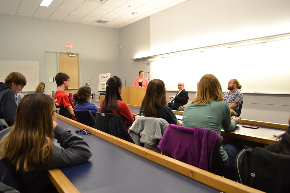 The student organization UConn Against Gun Violence hosted a screening of the documentary 91% followed by a discussion panel for students to react to the film on October 24 in Laurel Hall. The featured speakers of the panel included, pictured from left to right, Ron Pinciaro, who is the Executive Director of of Connecticut Against Gun Violence, Spencer Cohen, who is the President of the UConn Pistol and Rifle Club, and John Richie, who directed the documentary 91%. (Olivia Stenger/The Daily Campus)
