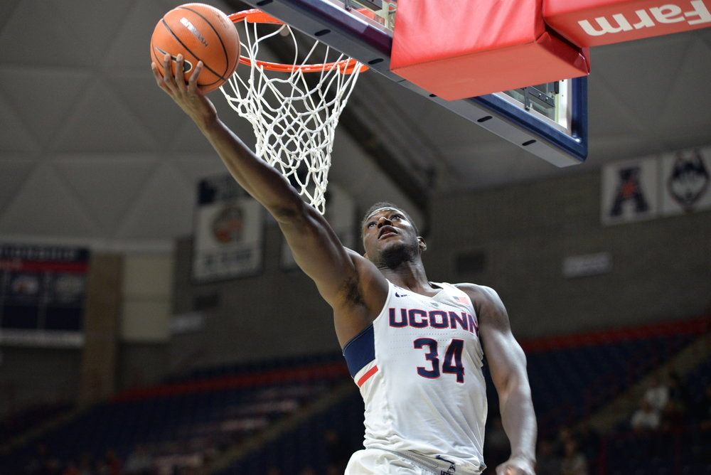 The UConn Men's basketball team narrowly defeats USF 68-65 in Gampel Pavilion on Wednesday, Feb. 7, 2018. Junior guard Jalen Adams (4) led the team in baskets scoring 19 points. (Amar Batra/The Daily Campus)