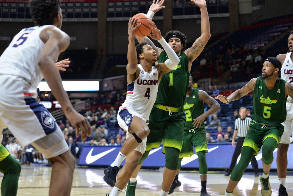 Jalen Adams did not play against Cincinnati due to flu-like symptoms. (Amar Batra/The Daily Campus)