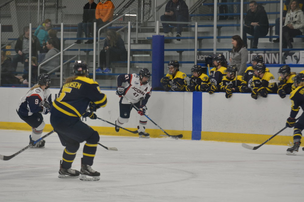 Despite being the No. 7 seed, UConn women's Hockey upset Providence to reach the Hockey East Playoff Semi-Finals (Jon Sammis/The Daily Campus)